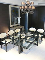 Rectangular table / contemporary / glass