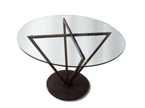 Contemporary table / glass / round