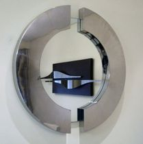 Wall-mounted mirror / contemporary / metal