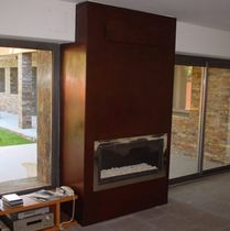 Contemporary fireplace mantel / steel / 1-sided