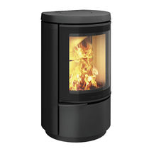 Wood heating stove / contemporary / cast iron / wall-mounted