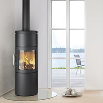 Wood heating stove / contemporary / corner / metal