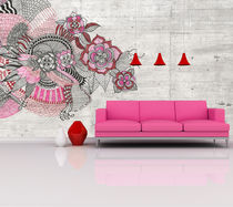 Original design wallpaper / floral / panoramic / printed