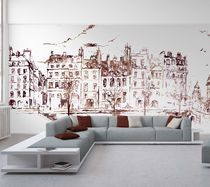 Original design wallpaper / urban motif / sketch / printed