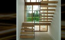 Half-turn staircase / straight / wooden steps / metal frame