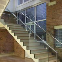 Half-turn staircase / straight / wooden steps / steel frame