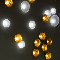 Contemporary ceiling light / round / brass / LED