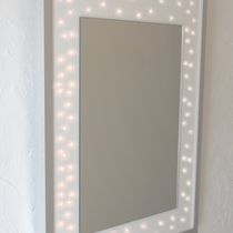 Wall-mounted mirror / illuminated / contemporary / rectangular