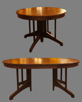 Round table / traditional / teak / extending