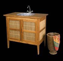 Contemporary washbasin cabinet / teak / bamboo / free-standing