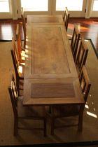 Traditional table / teak / rectangular / extending