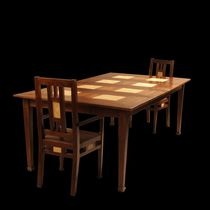 Traditional dining table / wooden / square