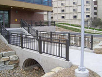 Metal railing / with bars / outdoor / for stairs
