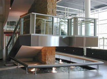 Aluminum railing / glass panel / indoor / for stairs