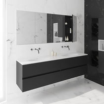 Double washbasin cabinet / wall-hung / wooden / contemporary