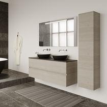 Wall-mounted mirror / illuminated / contemporary / rectangular