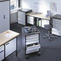 Metal office unit / 5-drawer / on casters