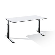 Workstation desk / wood veneer / metal / HPL