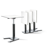 Contemporary high bar table / wood veneer / metal / HPL