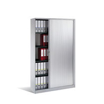 Tall filing cabinet / wood veneer / steel / glass