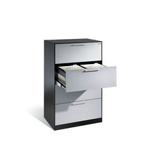 Low filing cabinet / wood veneer / steel / glass