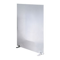 Floor-mounted office divider / fabric / plastic / steel
