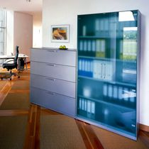 Tall filing cabinet / steel / modular / contemporary