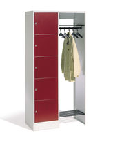 Steel locker / for offices / with open coat rack