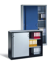 Tall filing cabinet / steel / with sliding door / contemporary