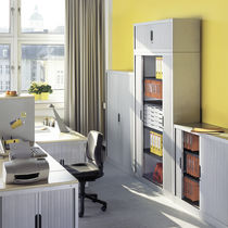 Tall filing cabinet / steel / tambour door / contemporary