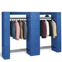 Steel locker / for public buildings / with open coat rack