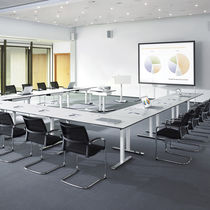 Contemporary conference table / chromed metal