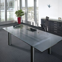 Executive desk / metal / glass / contemporary