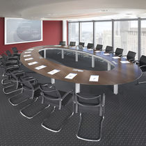 Contemporary conference table / wooden / oval / modular