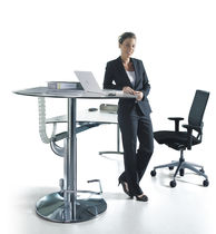 Stainless steel desk / contemporary / commercial / height-adjustable