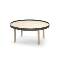 Contemporary coffee table / oak / round