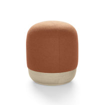 Contemporary pouf / fabric / leather / wooden