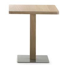 Contemporary bistro table / metal / oak / round