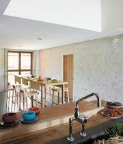 Contemporary high bar table / natural oak / rectangular / black