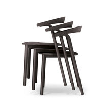 Contemporary chair / upholstered / stackable / solid wood