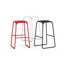 Minimalist design bar stool / chrome steel / polypropylene / commercial