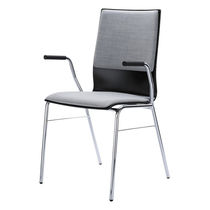 Contemporary visitor chair / molded plywood / steel / stackable