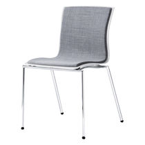 Contemporary visitor chair / fabric / steel / with armrests
