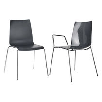 Contemporary visitor chair / plastic / steel / stackable