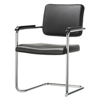 Contemporary visitor chair / steel / stackable / upholstered