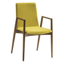 Contemporary visitor chair / wooden / fabric / with armrests