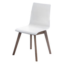 Contemporary visitor chair / plastic / wooden / upholstered