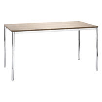 Contemporary work table / HPL / wooden / steel