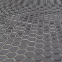 Expanded sheet metal / steel / facade / with hexagonal perforations