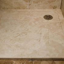 Rectangular shower base / travertine / with channel drain
